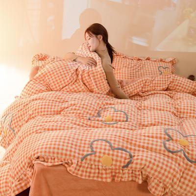 2020新款牛奶绒毛巾绣四件套-夜景图 1.2m床单款三件套 蜜桔格
