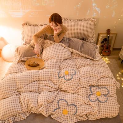 2020新款牛奶绒毛巾绣四件套-夜景图 1.2m床单款三件套 小灰格
