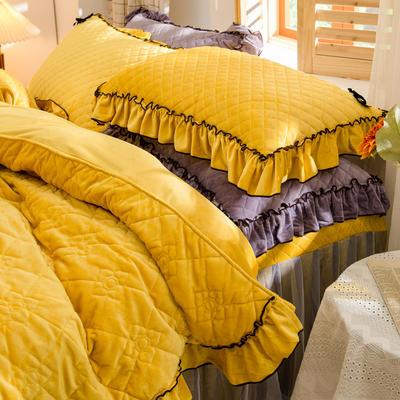 2020新款夹棉水晶绒韩版花边系列单枕套 48cmX74cm/只 水晶黄