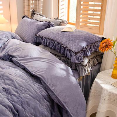 2020新款夹棉水晶绒韩版花边系列单枕套 48cmX74cm/只 水晶紫