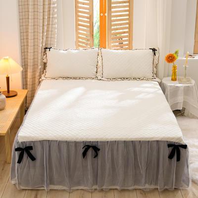 2020新款夹棉水晶绒韩版花边系列单床裙 120cmx200cm 水晶白