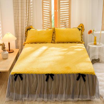 2020新款夹棉水晶绒韩版花边系列单床裙 120cmx200cm 水晶黄