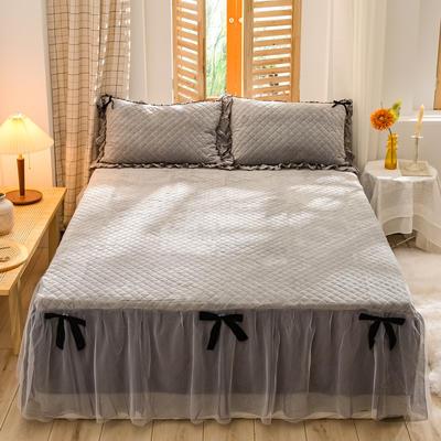 2020新款夹棉水晶绒韩版花边系列单床裙 120cmx200cm 水晶灰