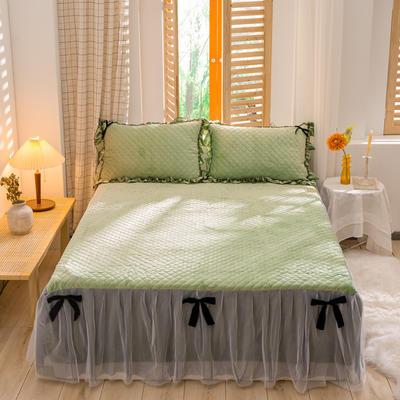 2020新款夹棉水晶绒韩版花边系列单床裙 120cmx200cm 水晶绿