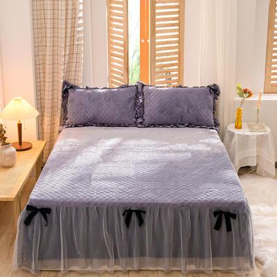 2020新款夹棉水晶绒韩版花边系列单床裙 120cmx200cm 水晶紫