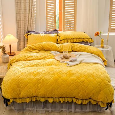 2020新款夹棉水晶绒韩版花边系列四件套 1.2m床裙款三件套 水晶黄