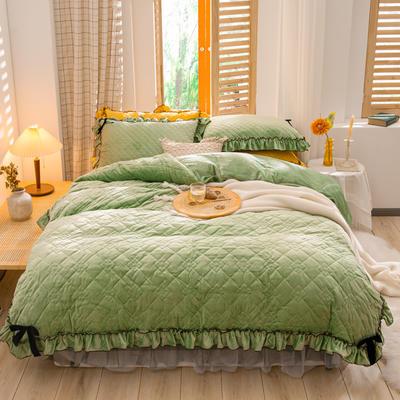 2020新款夹棉水晶绒韩版花边系列四件套 1.2m床裙款三件套 水晶绿