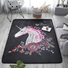 奕晨 新款地毯卧室地垫客厅茶几水晶绒面大版花地垫 总 145*195cm 独角兽黑