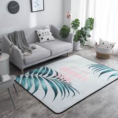 奕晨 新款地毯卧室地垫客厅茶几水晶绒面大版花地垫 总 145*195cm 清新绿叶