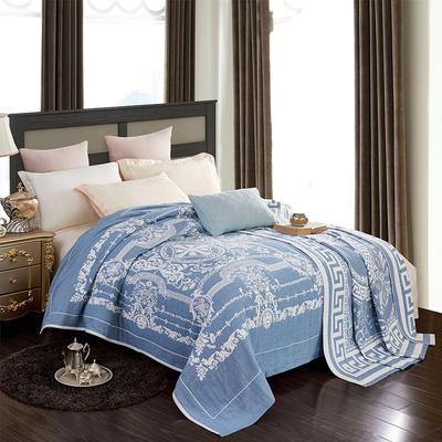 2018新款纯棉色织水洗四层纱布毯 200cmx230cm 皇家盛典-ab-蓝