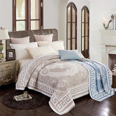 2018新款纯棉色织水洗四层纱布毯 200cmx230cm 美杜莎-ab-灰