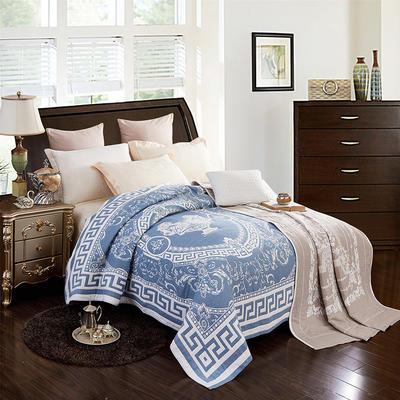 2018新款纯棉色织水洗四层纱布毯 200cmx230cm 美杜莎-ab兰