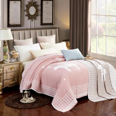 2018新款纯棉色织水洗四层纱布毯 200cmx230cm ab-粉