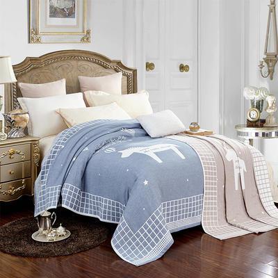 2018新款纯棉色织水洗四层纱布毯 200cmx230cm ab蓝