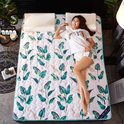 2019新款学生宿舍床垫 绗缝薄款ins印花防滑床垫宿舍床褥 90*200cm 芭蕉叶