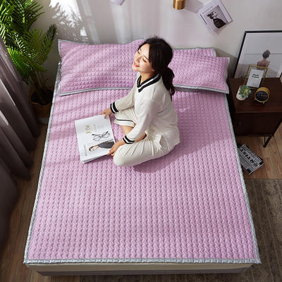 新款纯色凉感乳胶凉席三件套天然乳胶软席 150*200cm三件套 魅力紫