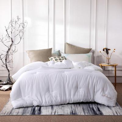 新款全棉提花莫代尔大豆被春秋被大豆纤维冬被四季可用 150x200cm3.8斤春秋被 白色