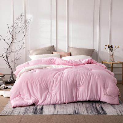 新款全棉提花莫代尔大豆被春秋被大豆纤维冬被四季可用 150x200cm3.8斤春秋被 粉色