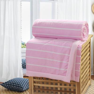 2019新款水洗棉夏被空调被夏凉被被子无印良品风格 200X230cm 粉白条纹