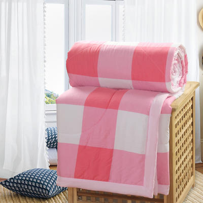2019新款水洗棉夏被空调被夏凉被被子无印良品风格 110x150cm 红白格子