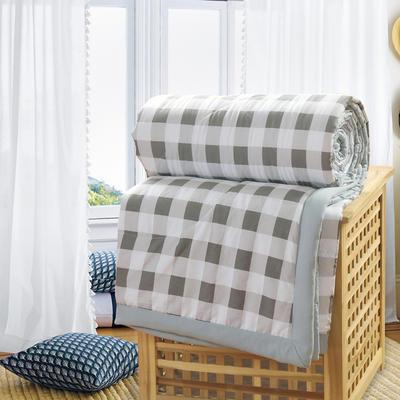 2019新款水洗棉夏被空调被夏凉被被子无印良品风格 110x150cm 灰白格子