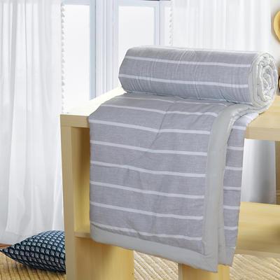 2019新款水洗棉夏被空调被夏凉被被子无印良品风格 200X230cm 灰白条纹