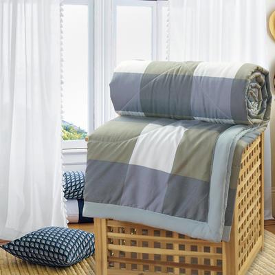 2019新款水洗棉夏被空调被夏凉被被子无印良品风格 150x200cm 灰绿格子