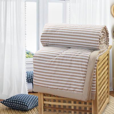 2019新款水洗棉夏被空调被夏凉被被子无印良品风格 200X230cm 咖啡条纹