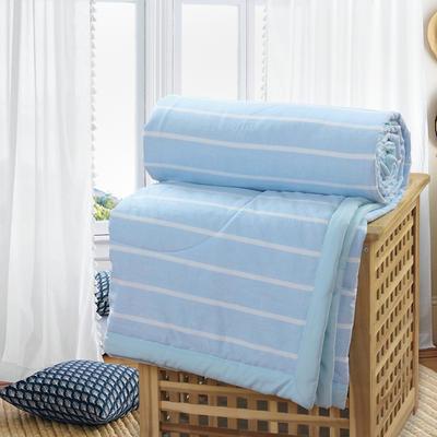 2019新款水洗棉夏被空调被夏凉被被子无印良品风格 200X230cm 蓝白条纹