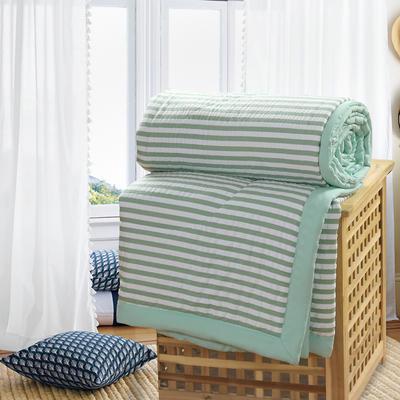 2019新款水洗棉夏被空调被夏凉被被子无印良品风格 150x200cm 绿白条纹