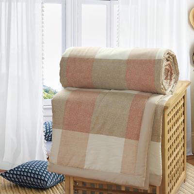 2019新款水洗棉夏被空调被夏凉被被子无印良品风格 150x200cm 绿棕格子