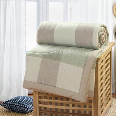 2019新款水洗棉夏被空调被夏凉被被子无印良品风格 200X230cm 米绿格子