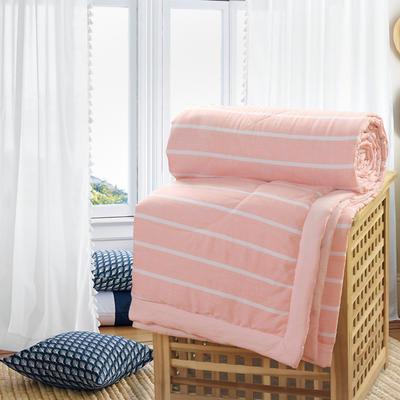 2019新款水洗棉夏被空调被夏凉被被子无印良品风格 150x200cm 玉白条纹