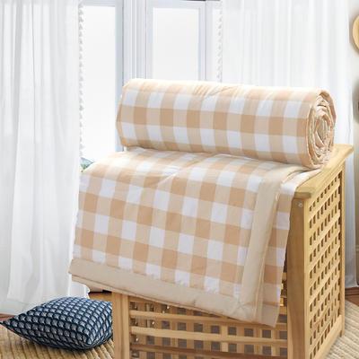 2019新款水洗棉夏被空调被夏凉被被子无印良品风格 200X230cm 棕咖格子