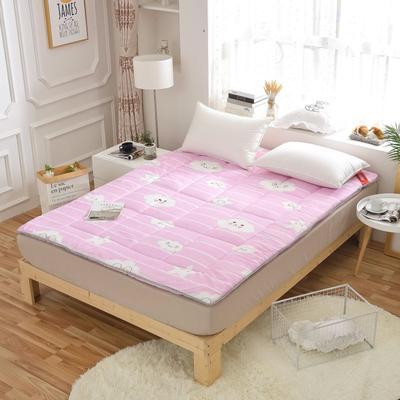 2018水洗棉软学生床垫可折叠4斤6斤8斤素色榻榻米寝室用品 90*200 4斤 彩云-粉红