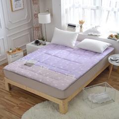 2018水洗棉软学生床垫可折叠4斤6斤8斤素色榻榻米寝室用品 90*200 4斤 紫色小花