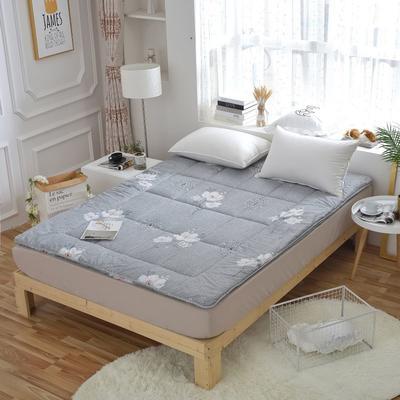 磨毛印花软学生床垫可折叠4斤6斤8斤素色榻榻米寝室用品 150*200 4斤 花语-灰