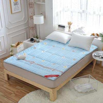 磨毛印花软学生床垫可折叠4斤6斤8斤素色榻榻米寝室用品 150*200 4斤 可爱熊