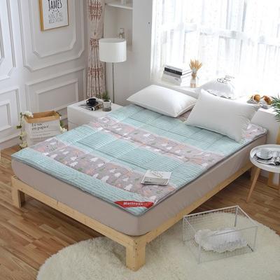 磨毛印花软学生床垫可折叠4斤6斤8斤素色榻榻米寝室用品 150*200 4斤 紫色小花