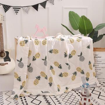 2018新款水洗棉儿童被夏被ins菠萝空调被手包边工艺