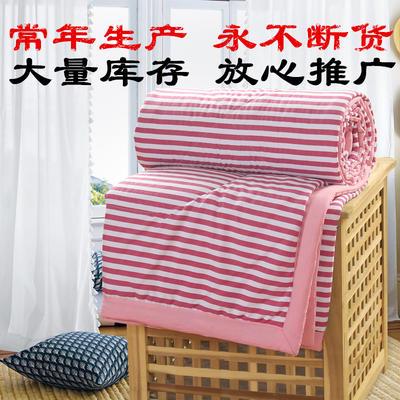 2019新款水洗棉夏被空调被夏凉被被子无印良品风格 150x200cm 钻红条纹