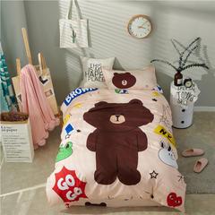 2018新款全棉卡通学生床三件套 1.2m(4英尺)床 布朗熊