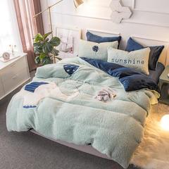2018新款羊羔绒贴布绣四件套 1.5m(5英尺)床 大象