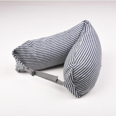 2019新款u型枕颈部靠枕飞机旅行枕护颈椎脖子枕午休趴睡枕头 67*16.7cm 蓝灰条纹