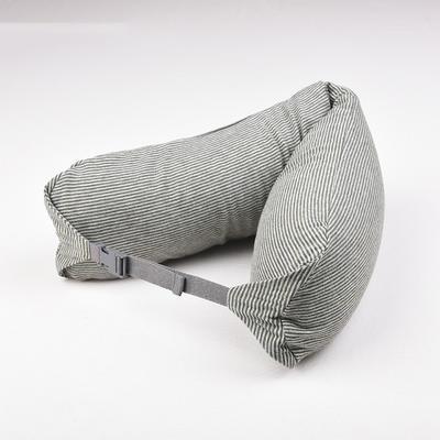2019新款u型枕颈部靠枕飞机旅行枕护颈椎脖子枕午休趴睡枕头 67*16.7cm 绿灰细条