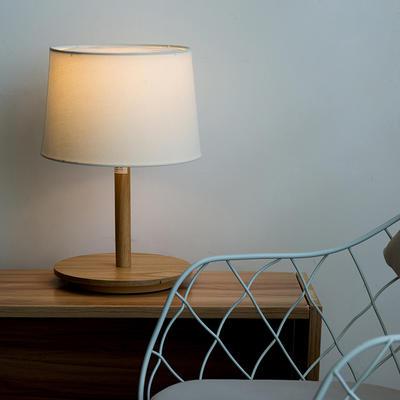 2019新款日系式简约实木质布面灯罩式书房台灯卧室酒店床头灯 其他 台灯