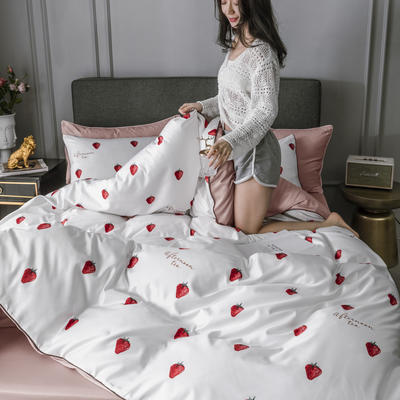 2020新款水洗真丝镶边印花系列四件套 1.5m床单款四件套 草莓