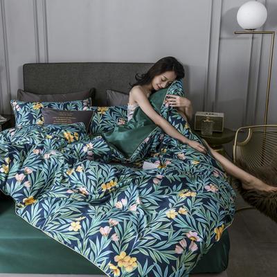 2020新款水洗真丝镶边印花系列四件套 1.5m床单款四件套 锦梦