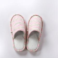 植沃家居 条纹羊毛外缝拖鞋女款 35-39码 粉色