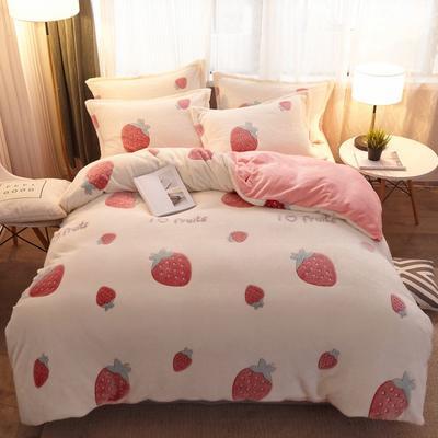 2019新款立體膠印雪花絨四件套 1.8m床(適合被套2.0*2.3m) 甜心草莓